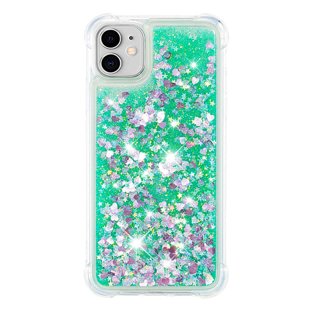 iPhone 11 Case Glitter Liquid Quicksand Floating Sparkle Bling Phone Cover Green