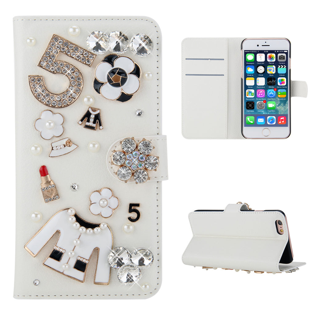 Realme X2 Cover 3D Crystal Rhinestone Lipstick Leather Purse Card Flip Stand Case White