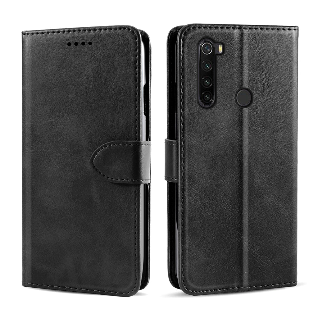 Xiaomi Redmi Note 8T Leather Case Credit Card Slots Folio Flip Wallet Cover Black