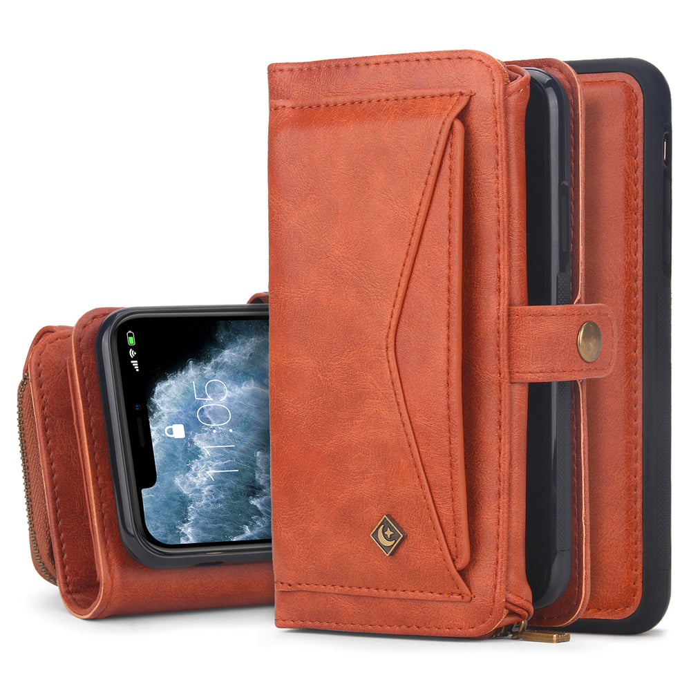 Wallet Case for iPhone 11 Pro Magnetic Detachable TPU Case Fit Car Mount Brown