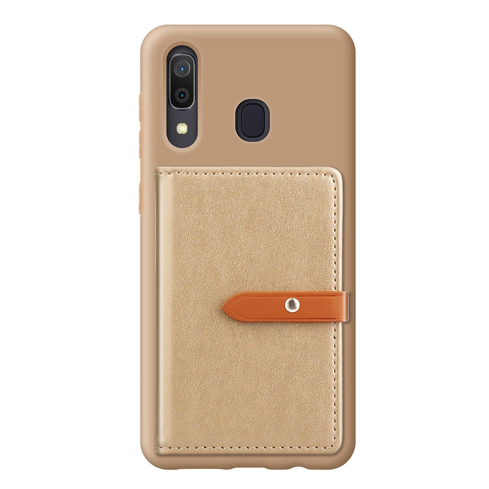 Samsung Galaxy A30 Card Holder Case with Cash Pocket Credit Card Slot Wallet Case Golden