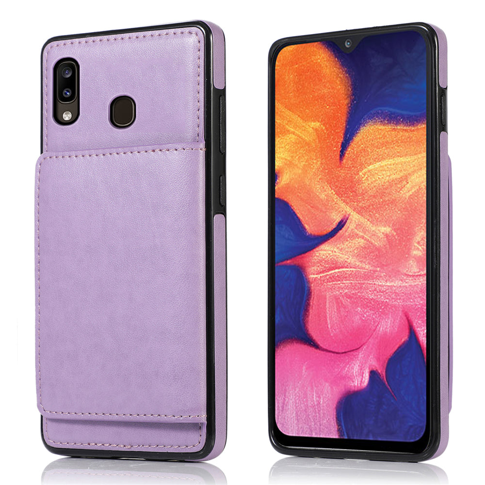 Samsung Galaxy A30 Wallet Case with 3 Card Slots Cash Pocket with Stand Purple
