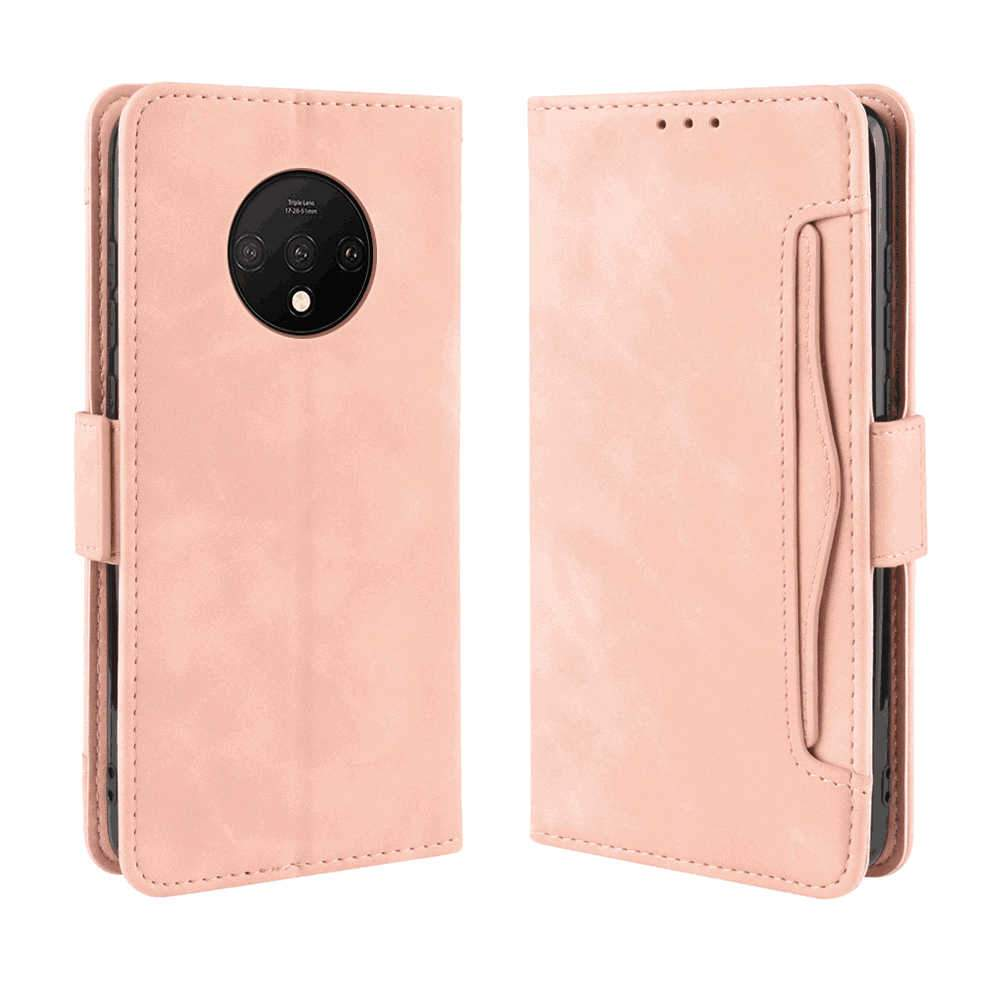 Oneplus 7T Wallet Case Flip Fold Case with Multi-card Slot for OnePlus 7T Pink