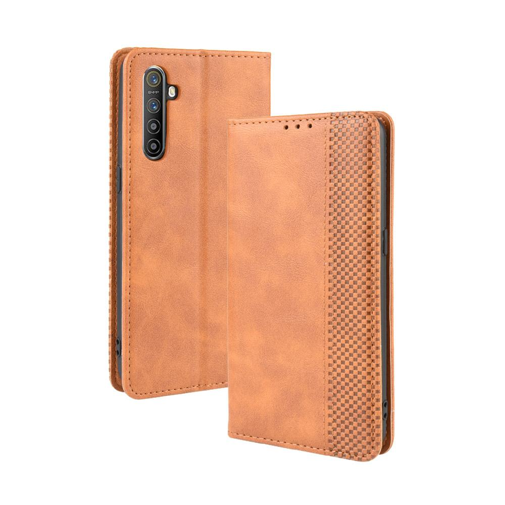Realme X2 Wallet Case Retro Leather Cover with Stand Credit Card Holder Brown