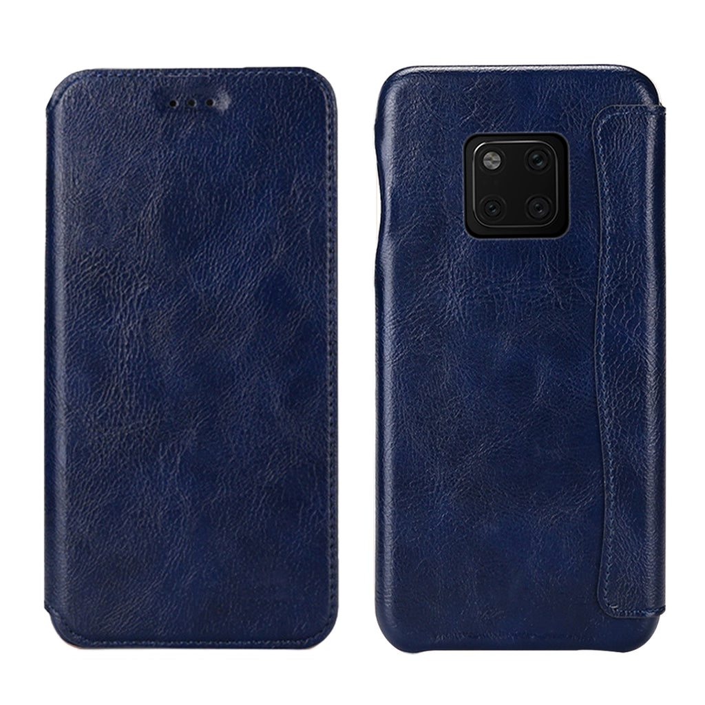 Thin Leather Case for Huawei mate 20 pro with Card Slot Full Access Blue