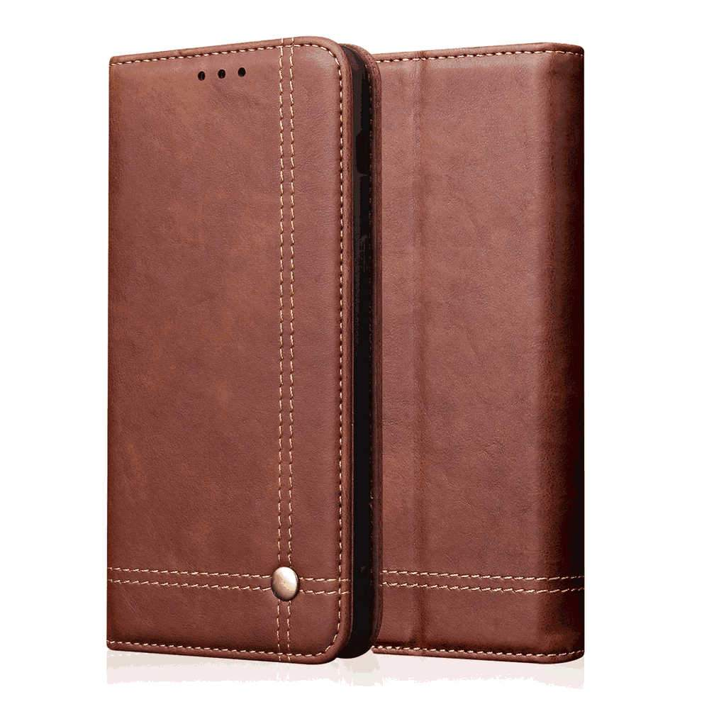 Wallet Case for Xiaomi mi note 10 Stand Feature Card Slot Side Pocket Magnetic Closure Leather Cover Brown