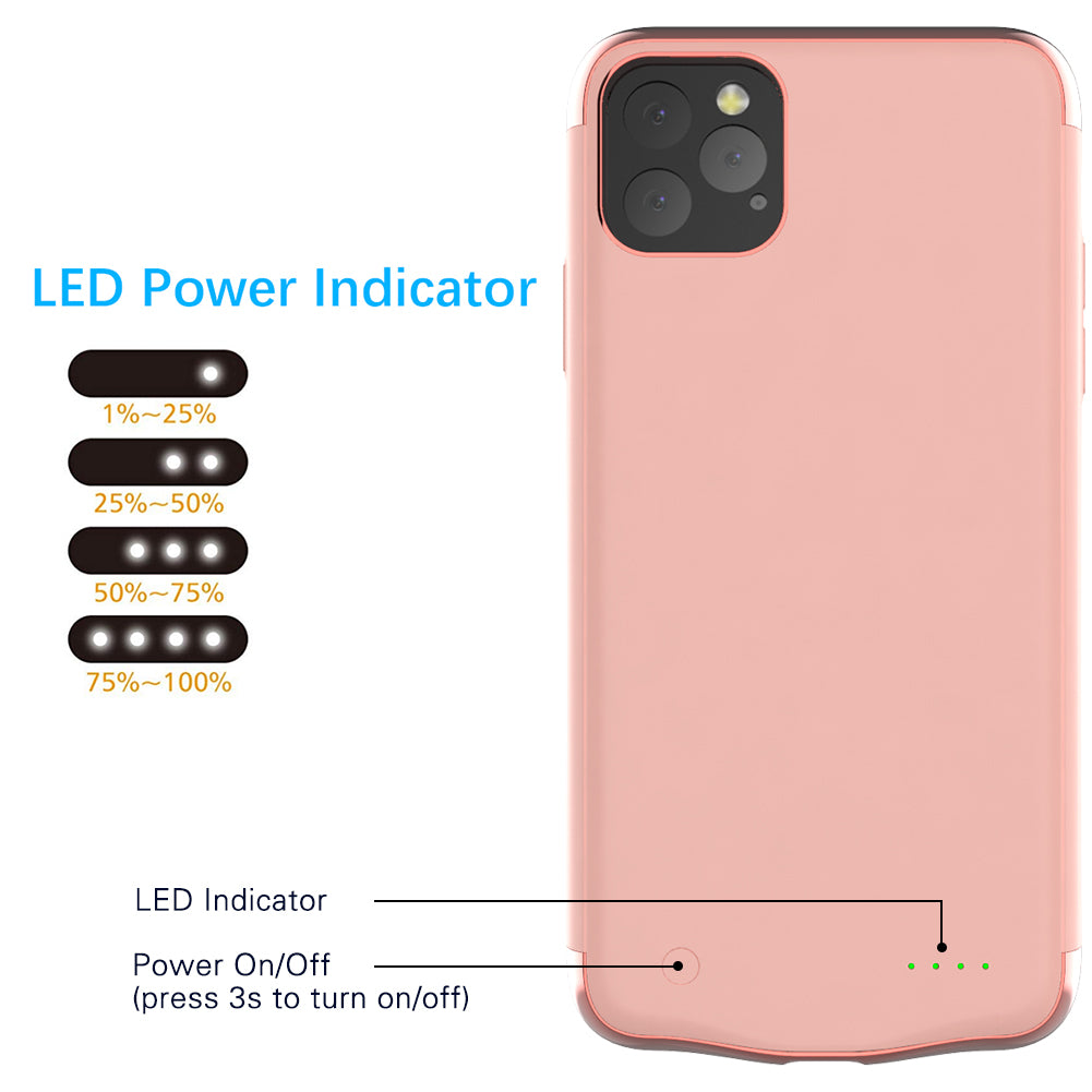 iPhone 11 Pro Max charger case 6000mah extended battery phone case for Girls Pink