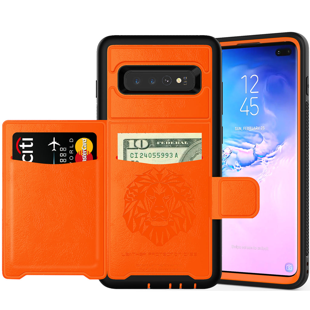 Rugged Case for Galaxy S10 Plus Card Case Flip Wallet with Kickstand Orange