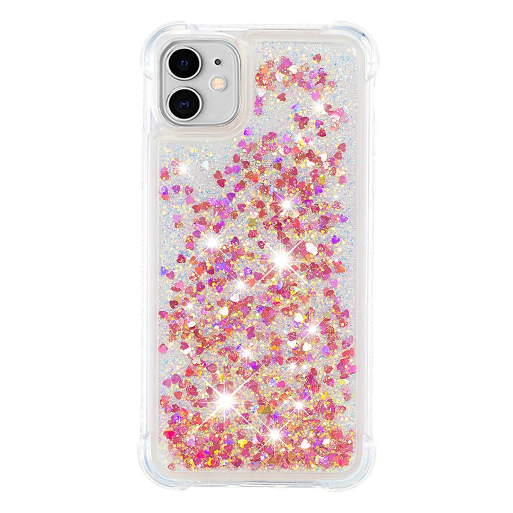 iPhone 11 Case Floating Bling Glitter Sparkle TPU Shockproof Girls Women Case Rose Gold
