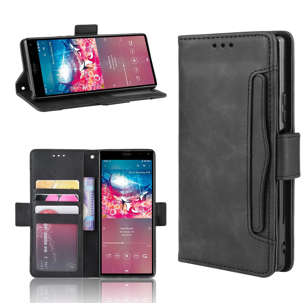 Sony Xperia 8 Leather Case Multiple Card Slots Wallet Cover with Inner Protective Shell Black