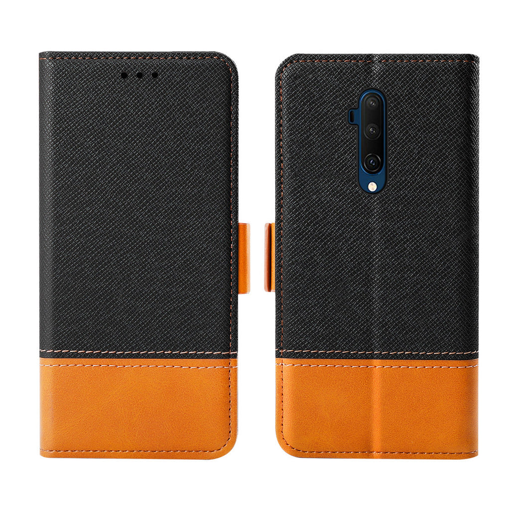 Oneplus 7T Pro Wallet Case Protection Case with Kickstand Card Slots Black