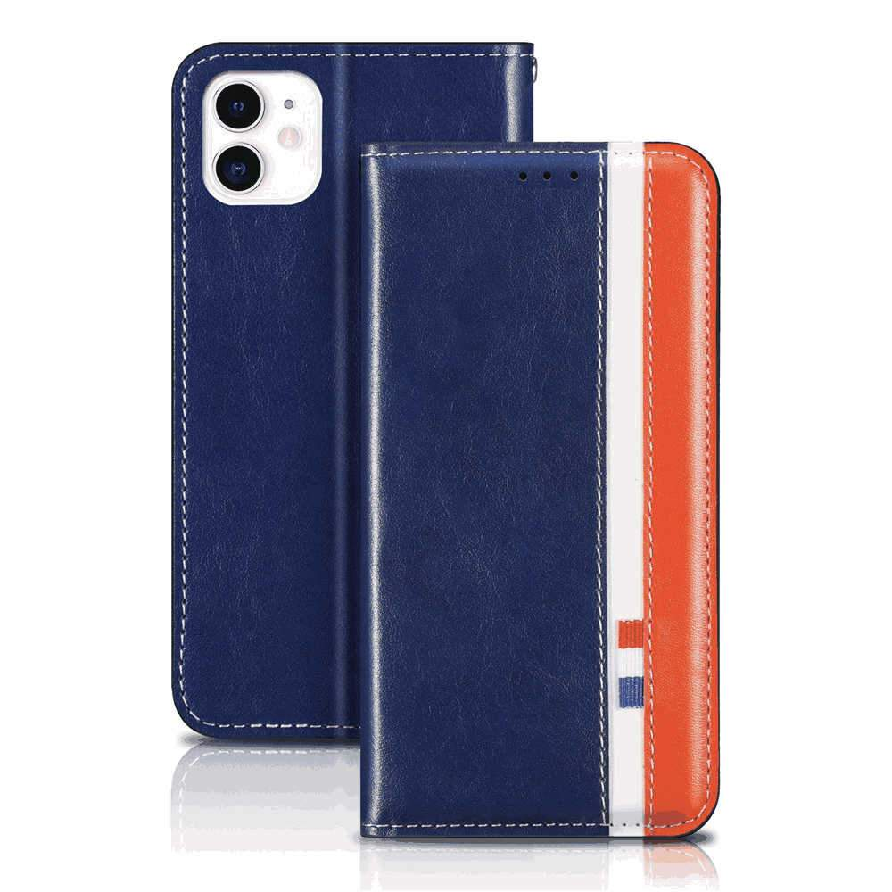Wallet Case for iPhone 11 Leather Folio Flip Cover with Kickstand and Credit Slots Ultra Thin Case Blue