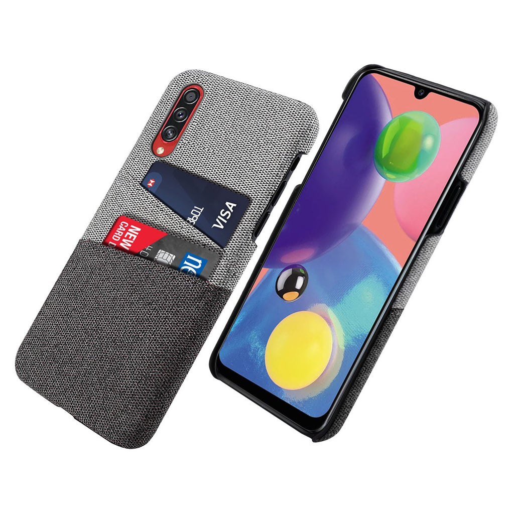 Samsung Galaxy A70s Case Fabric Cover Wallet Card Slots Hard Case Black
