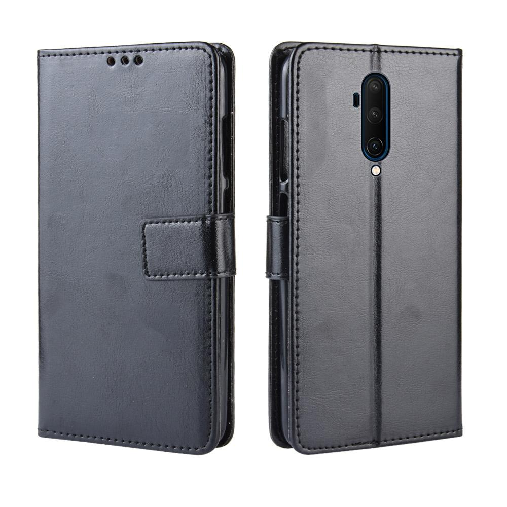 OnePlus 7T Pro Leather Case Flip Stand Wallet Case with Card Slots & Hand Strap Black