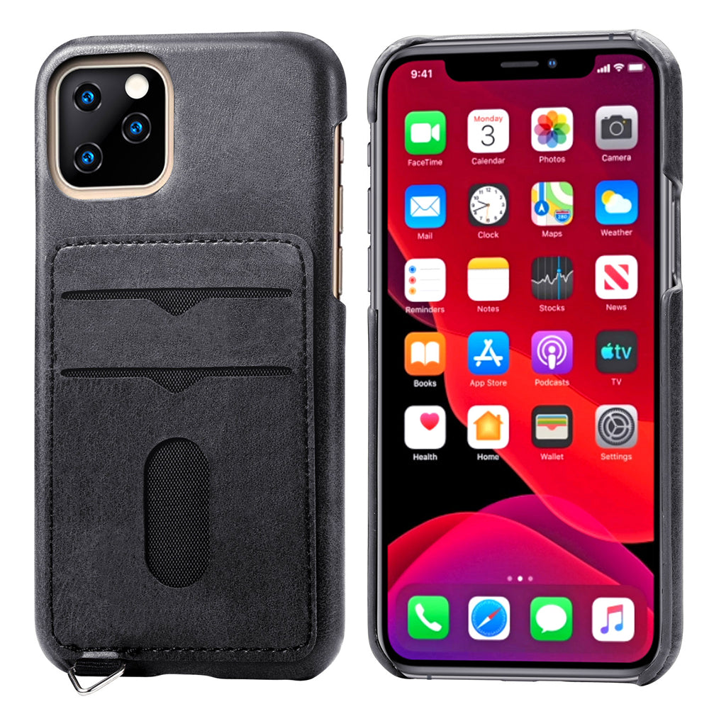 iPhone 11 Case Slim Fit PC Snap-on Protective Cover with Card Slots & Hook Black
