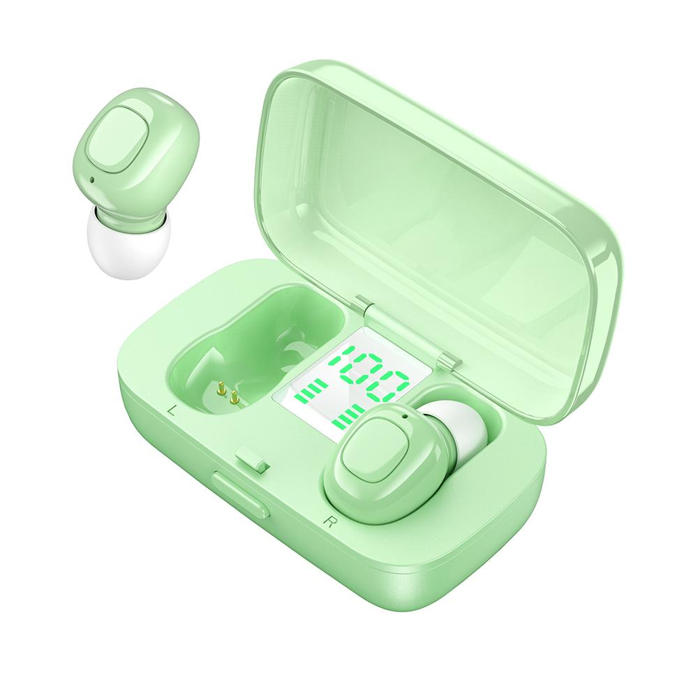 True Wireless Earbuds with Charging Case Bluetooth 5.0 Earphones in-Ear Built-in Microphones Green
