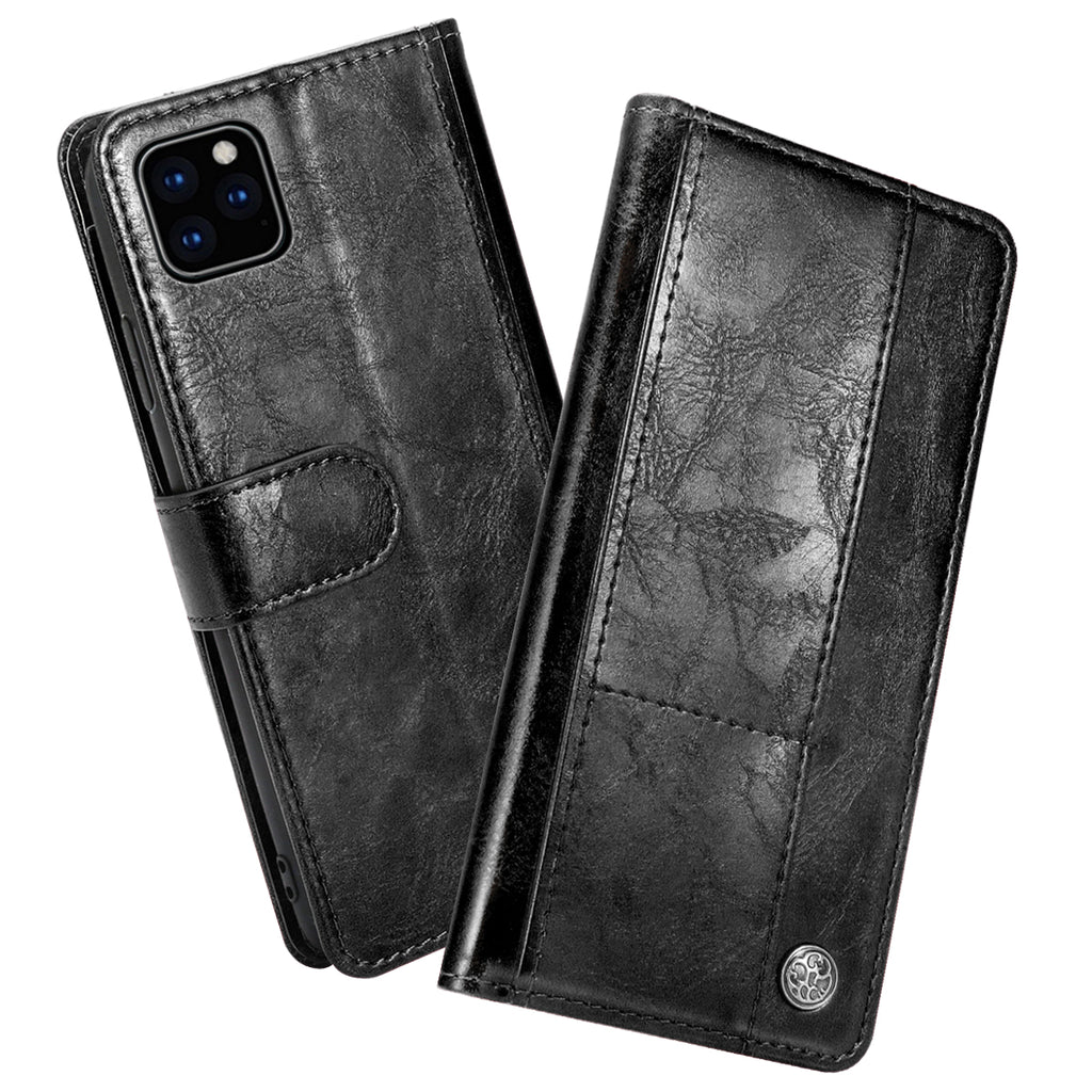 iPhone 11 Wallet Case Classic Vintage Leather Case with 4 Card Slots & Magnetic Clasp Black