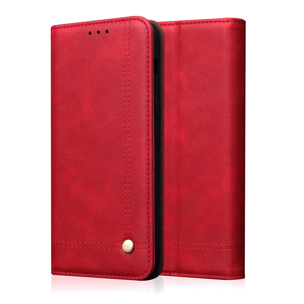 iPhone 11 pro max Wallet Case Multi-functional Anti-scratch Leather Protective Cover with Card Slot Red