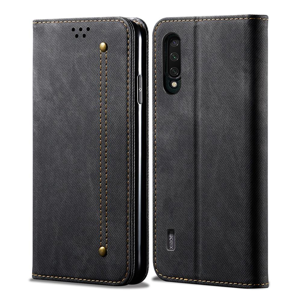 Xiaomi Mi CC9 Wallet Case with Card Holder with Kickstand TPU Shockproof Interior Protective Cover Black
