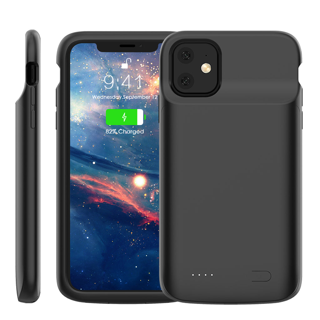 iPhone 11 Battery Case 5000mAh Extended Rechargeable Battery Charger Protective Cover Black