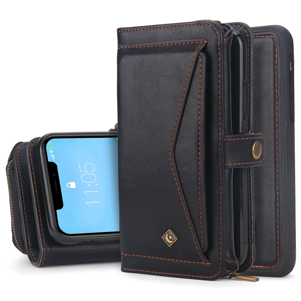 iPhone 11 Wallet Case Detachable Leather Wallet Magnetic Flip Case with Credit Card Slots Black