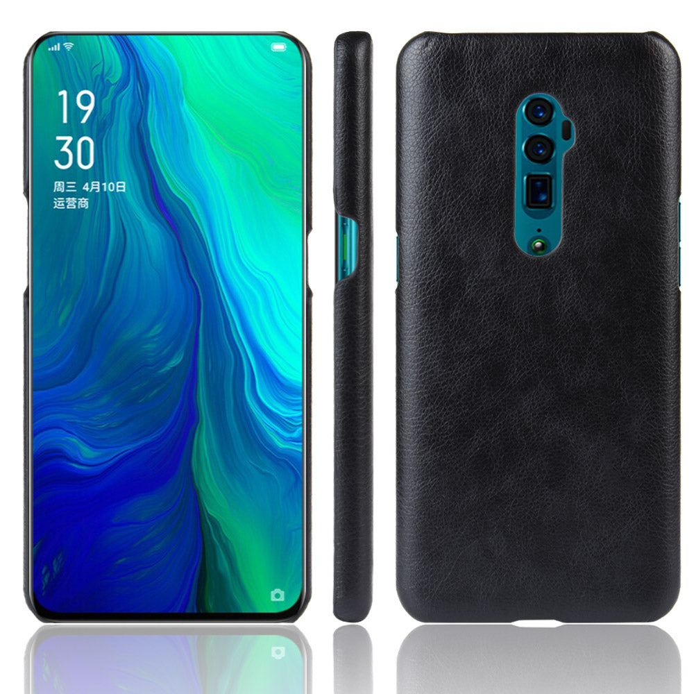 Phone Cover for Oppo Reno 10x Zoom Impact Resistant PU Lichee Case Black