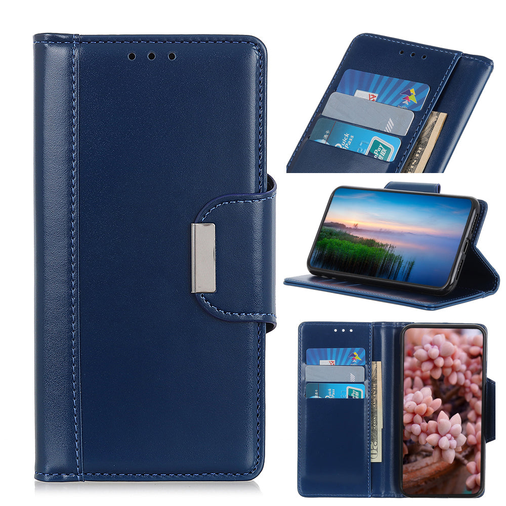 Realme X2 Pro Wallet Leather Case Flip Phone Cover with Card Holder Magnetic Closure Clasp Blue