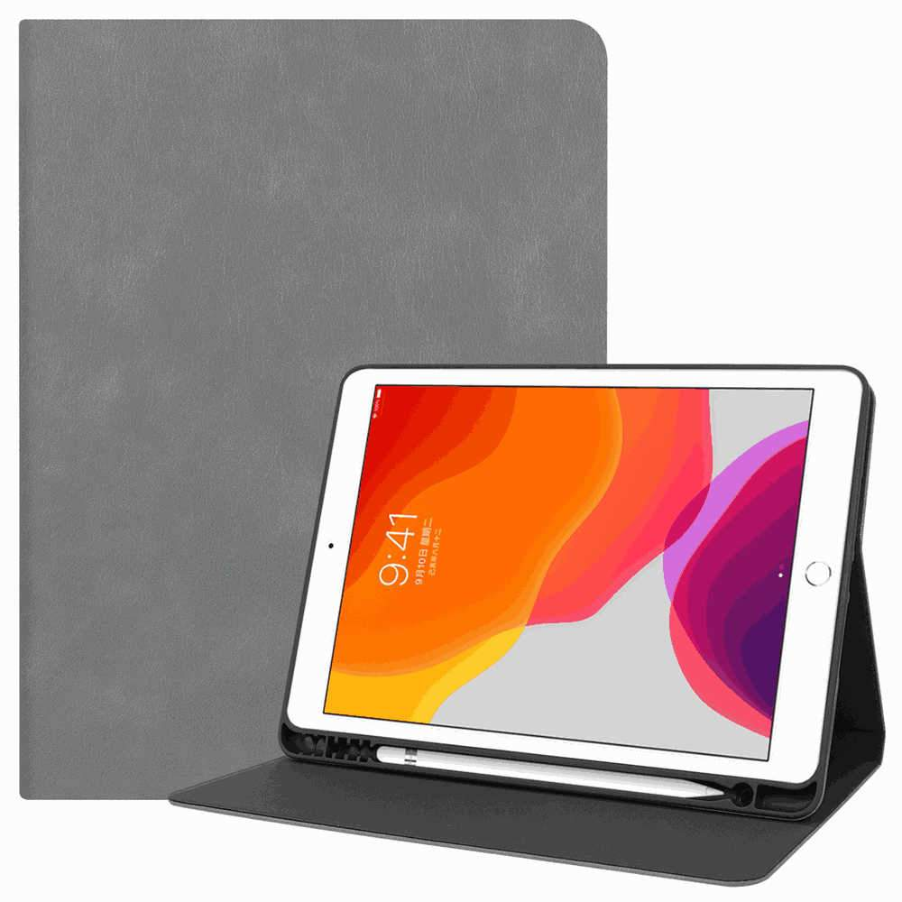 Leather Case for 10.2 Inch 2019 New iPad 7th Generation Folding Stand Cover with Auto Wake/Sleep Grey