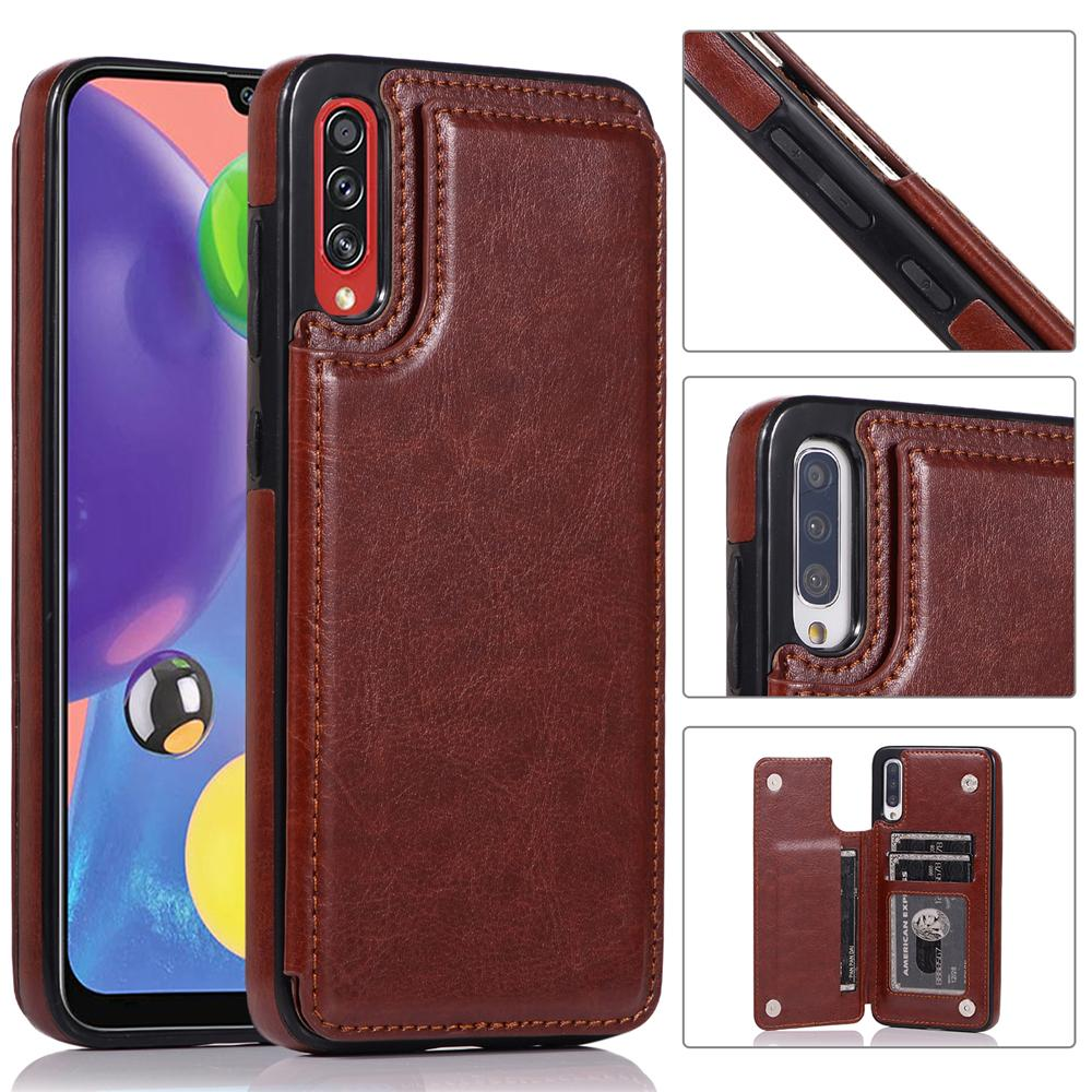 Wallet Phone Case for Galaxy A70s Dual Layer Lightweight Leather Cover with Card Slots Magnetic Lock Brown