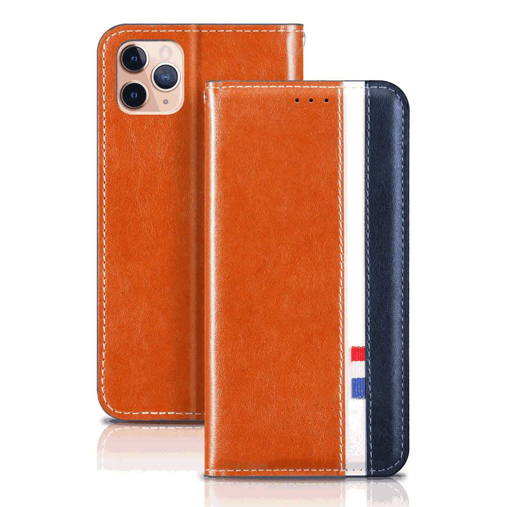 iPhone 11 Pro Leather Case Folio Flip PU Leather Wallet Cover with Kickstand and Credit Slot Orange