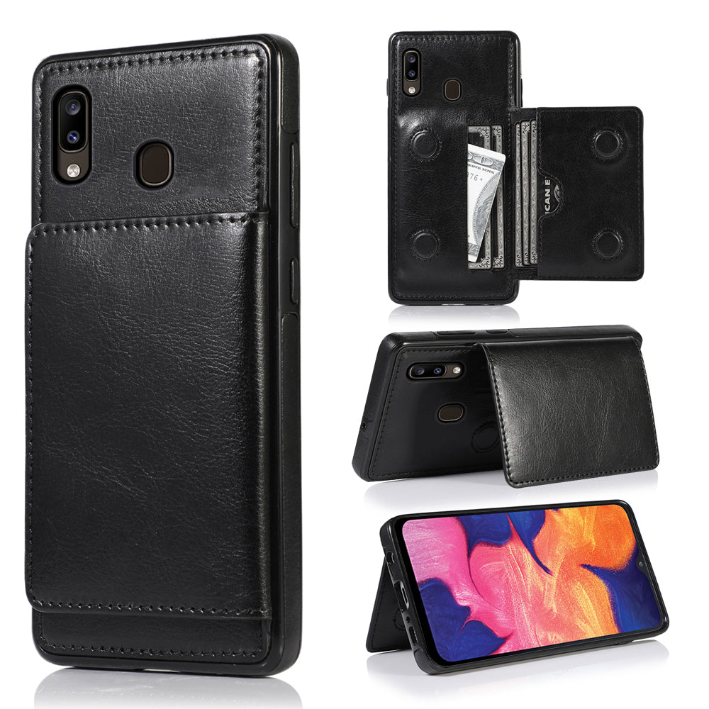 Samsung Galaxy A20 Cardholder Case Wallet Case Dropproof Protective Cover Black