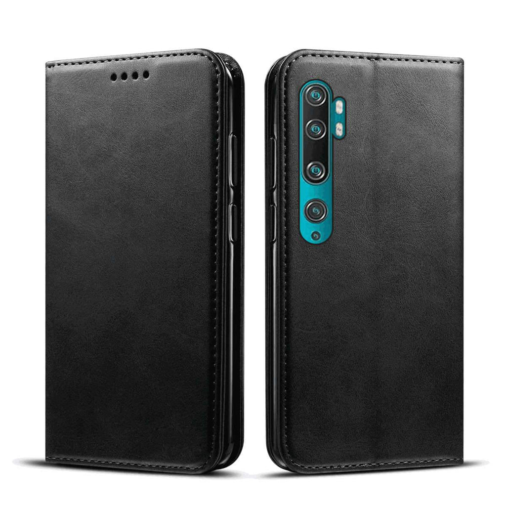 Xiaomi mi note 10 Leather Case Card Slots Stand Magnetic Cover Shockproof Flip Wallet Case Black