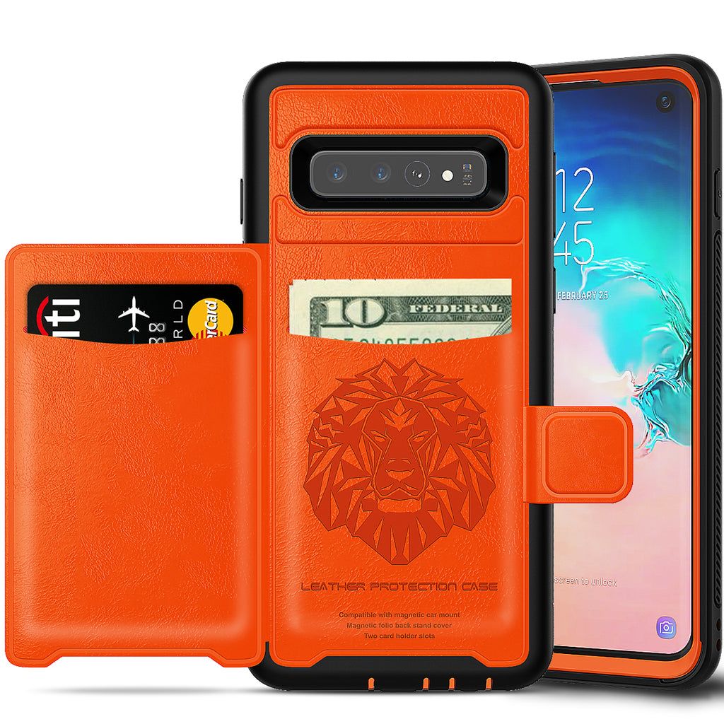 Galaxy S10 Wallet Case Rugged Leather Phone Cover with Card Slots & Kickstand Orange