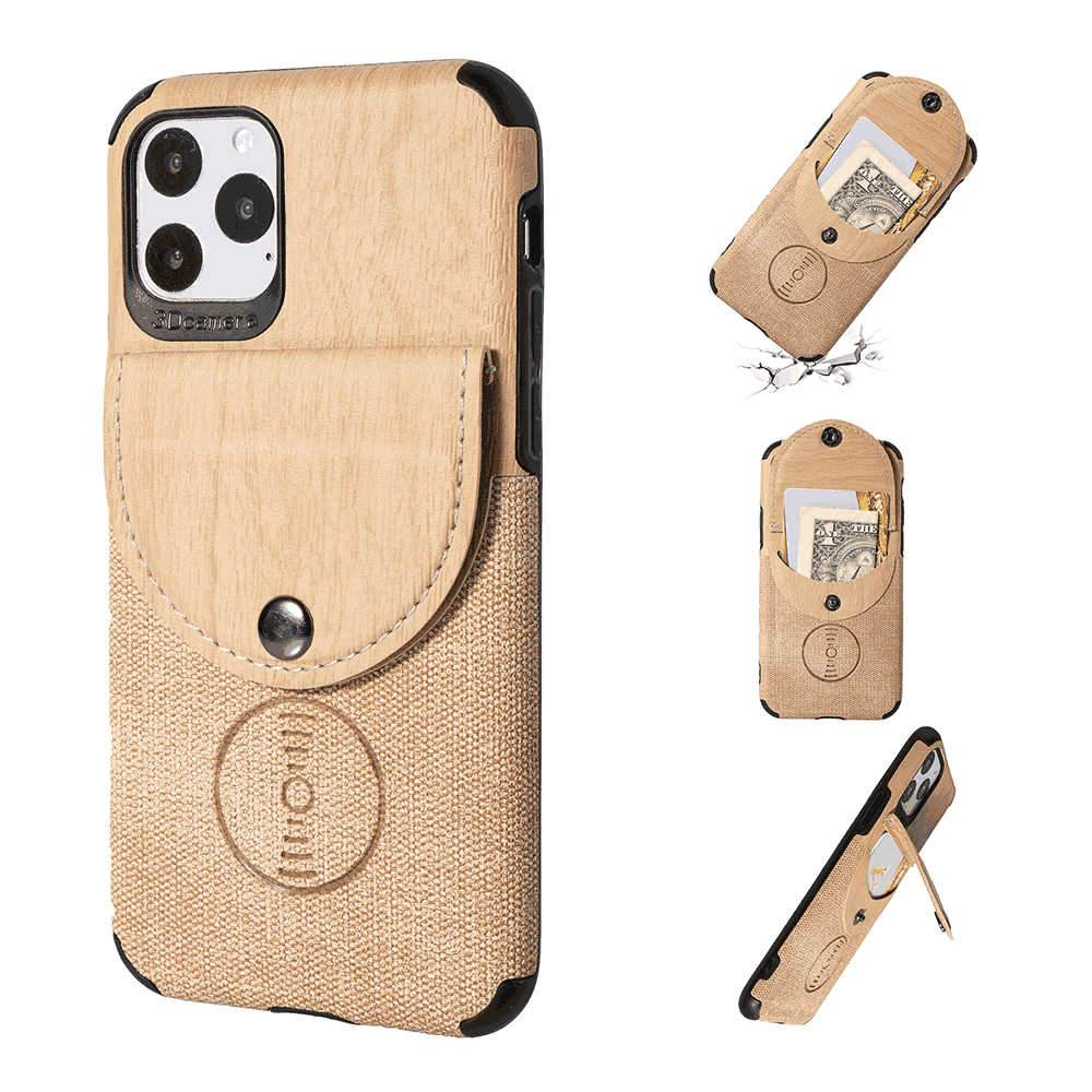 iPhone 11 Pro Case Contrast Wood Grain Leather Wallet Case Anti-Slip Soft Grip Full Body Protective Case Gold