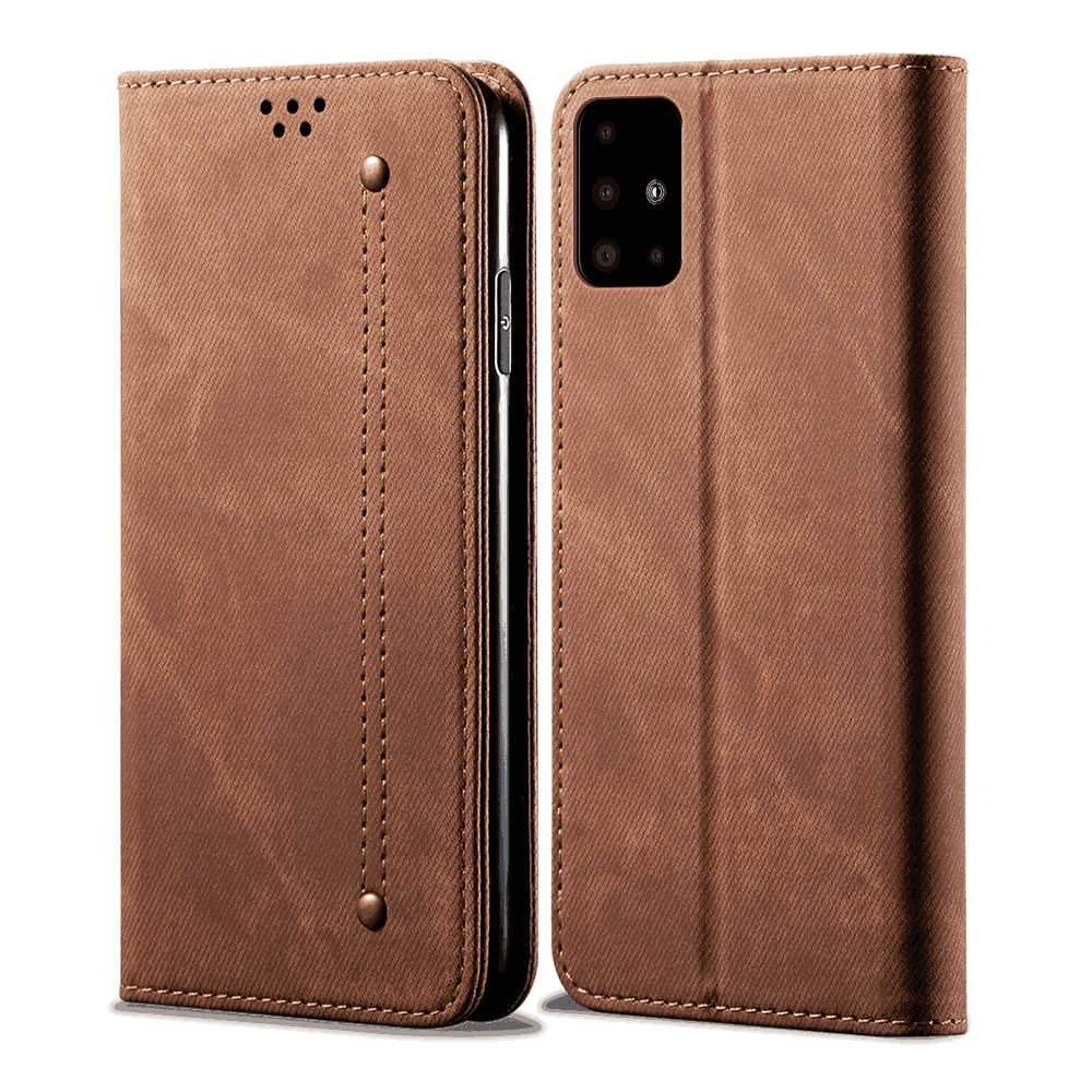Samsung A51 Leather Case Handcrafted Wallet Case Flip Folio Case with Kickstand Function Card Slots Brown
