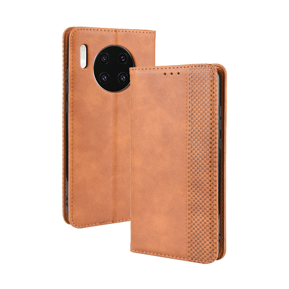 Huawei Mate 30 Wallet Case Vintage Leather Cover with Card Slots Brown