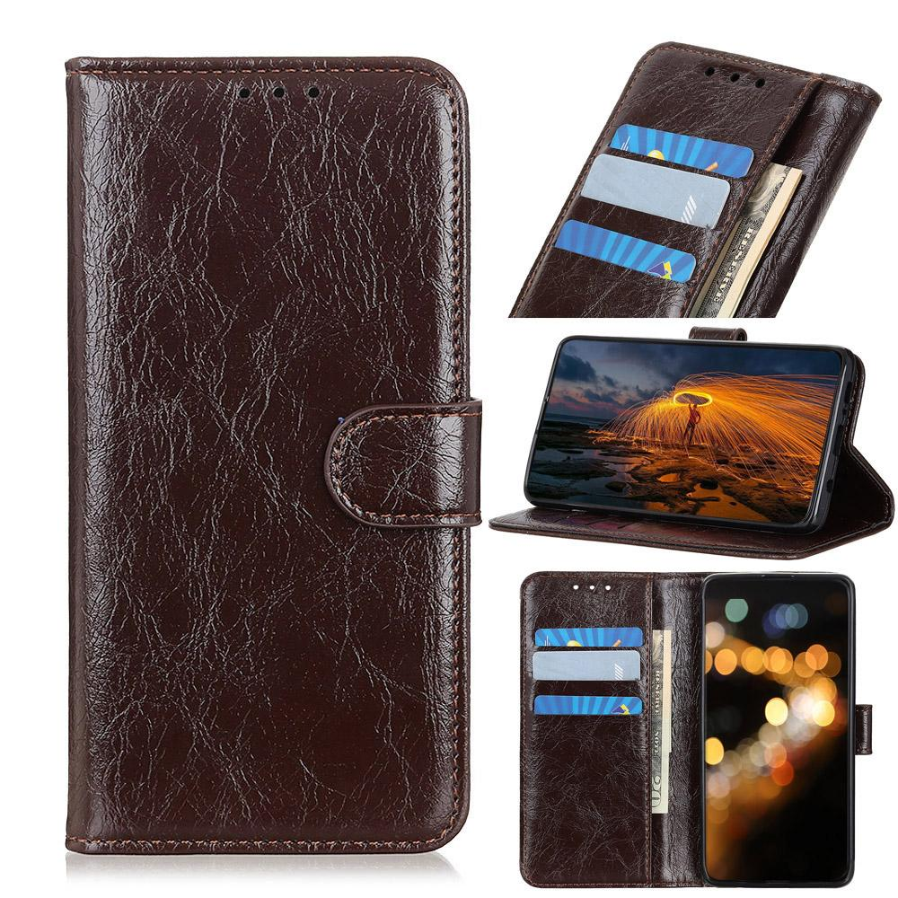 Wallet Case for Galaxy Note 10 plus Shockproof Flip Case with Credit Card Slot Brown