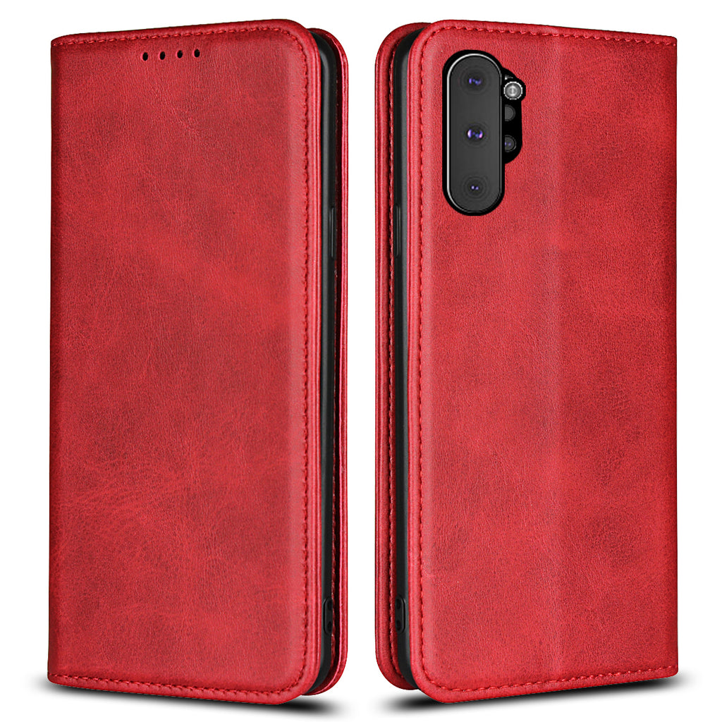 Card Case Wallet for Galaxy Note 10 Plus with 3 Cards Slot & Cash Pocket Leather Case for Women Red