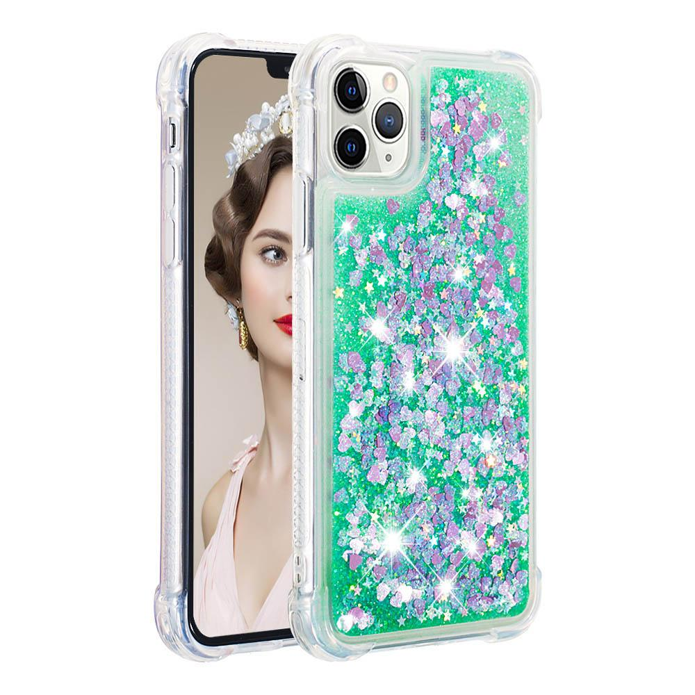 iPhone 11 Pro Max Case Colorful Glitter Bling Flowing Liquid Cute Case Green