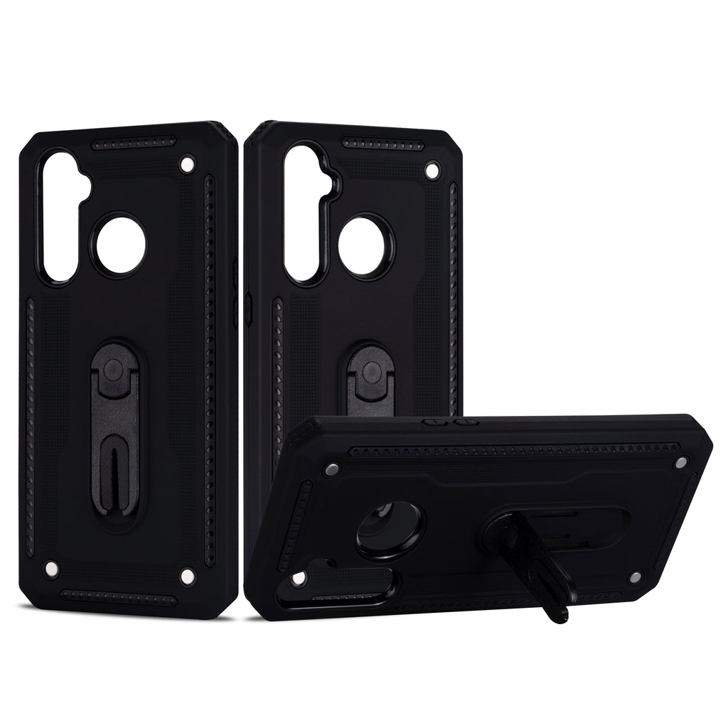 Realme 5 Phone Case PC & TPU Shock Absorption Hybrid Cover with Rotating Stand Black