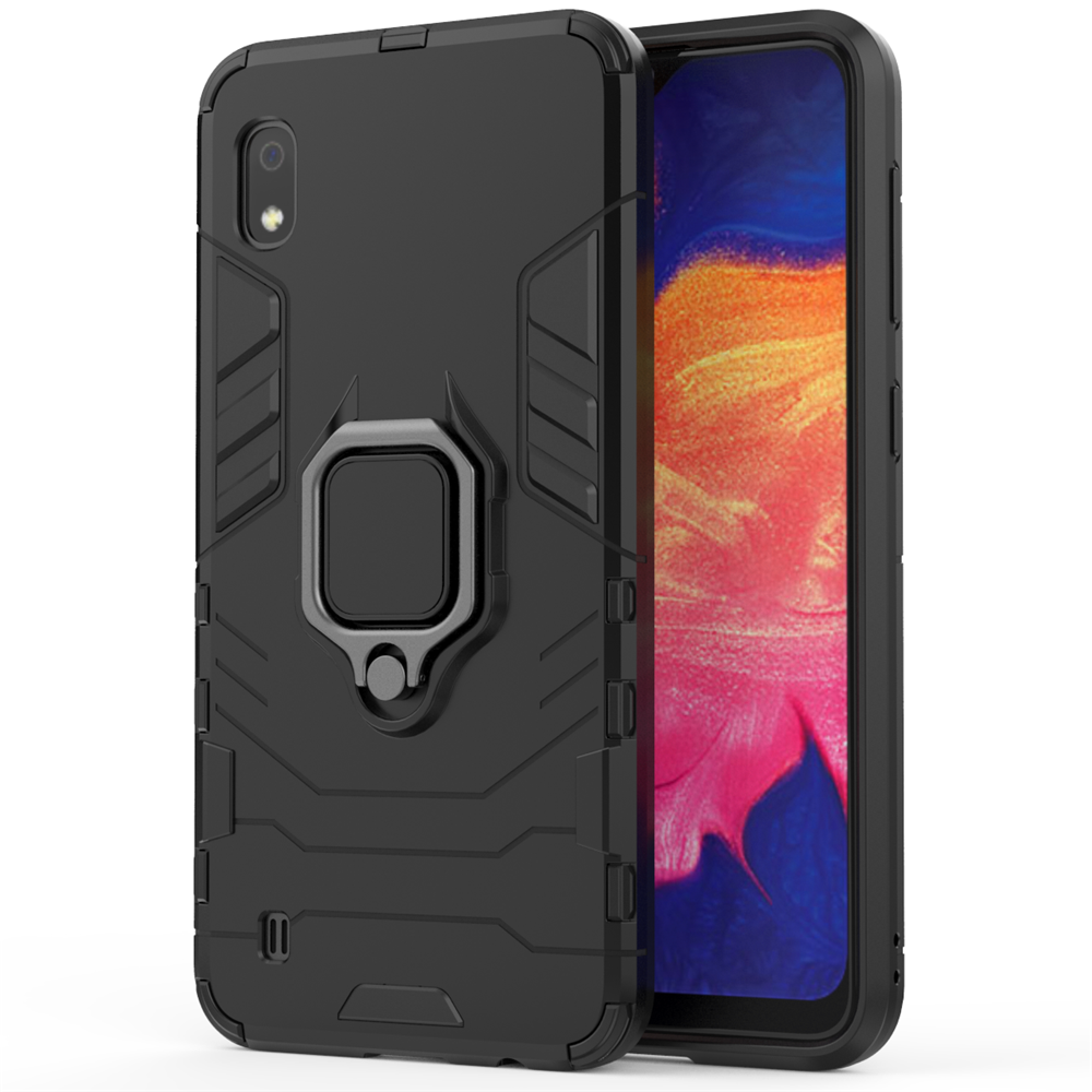 Samsung Galaxy A10 Case Rugged Hybrid Armor Anti-Scratch Shockproof Kickstand Cover Black