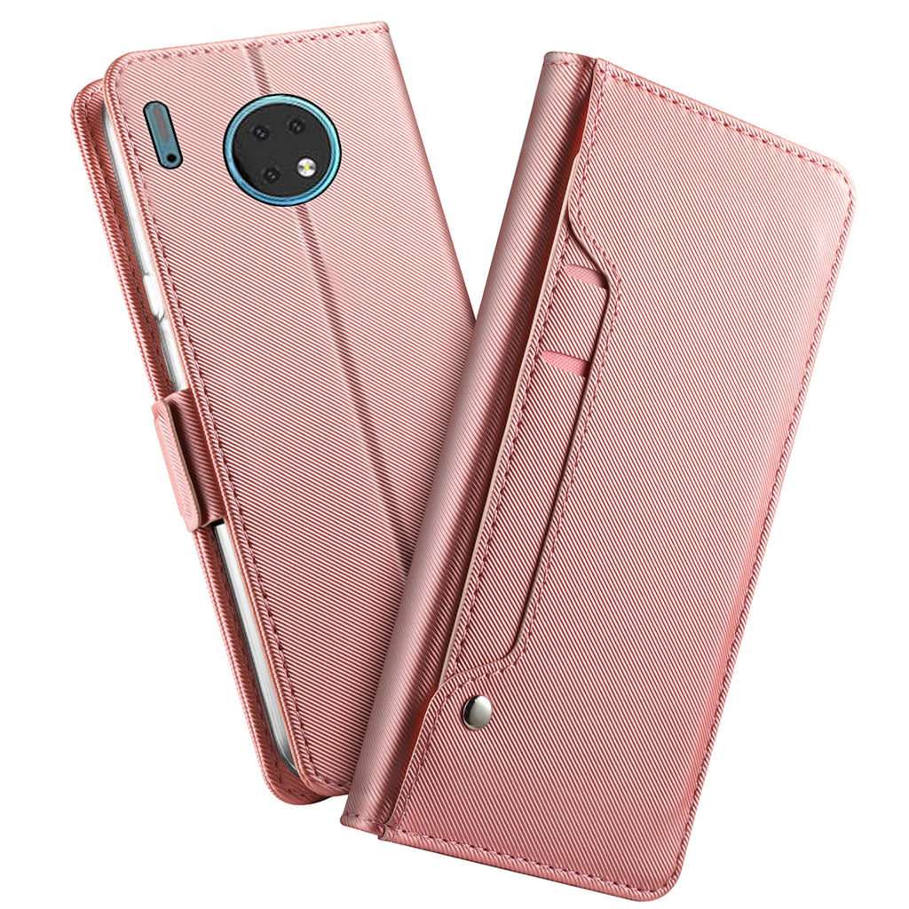 Huawei Mate 30 Wallet Case Ultra Slim Shockproof Cover with Cards Slot & Mirror Rose Gold