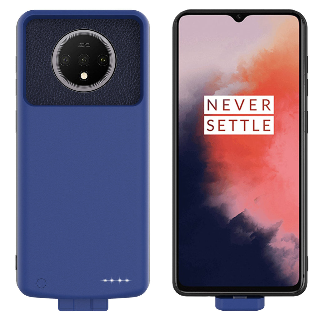 Battery Case for Oneplus 7T 7000mah Rechargeable Extended Battery Charging Case Blue