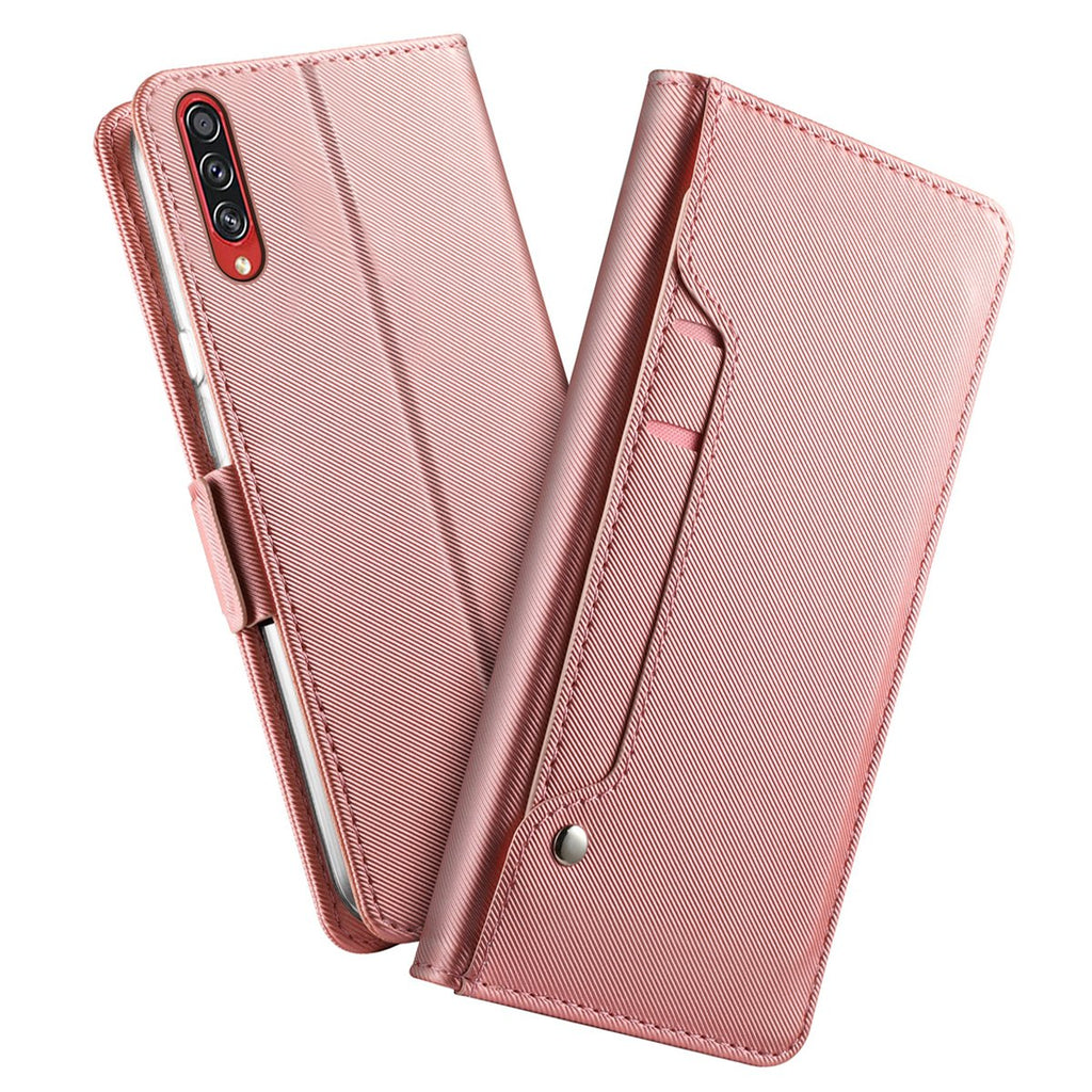 Galaxy A70s Leather Wallet Case With Card Slot and Mirror Stand Flip Cover Rose Red