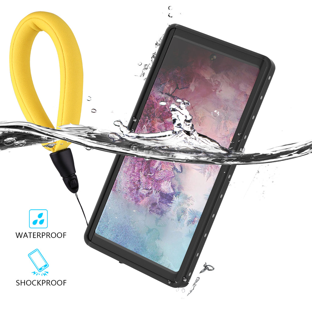 Galaxy Note 10 Waterproof Case IP68 Certified Built-in Screen Protector with Floating Strap