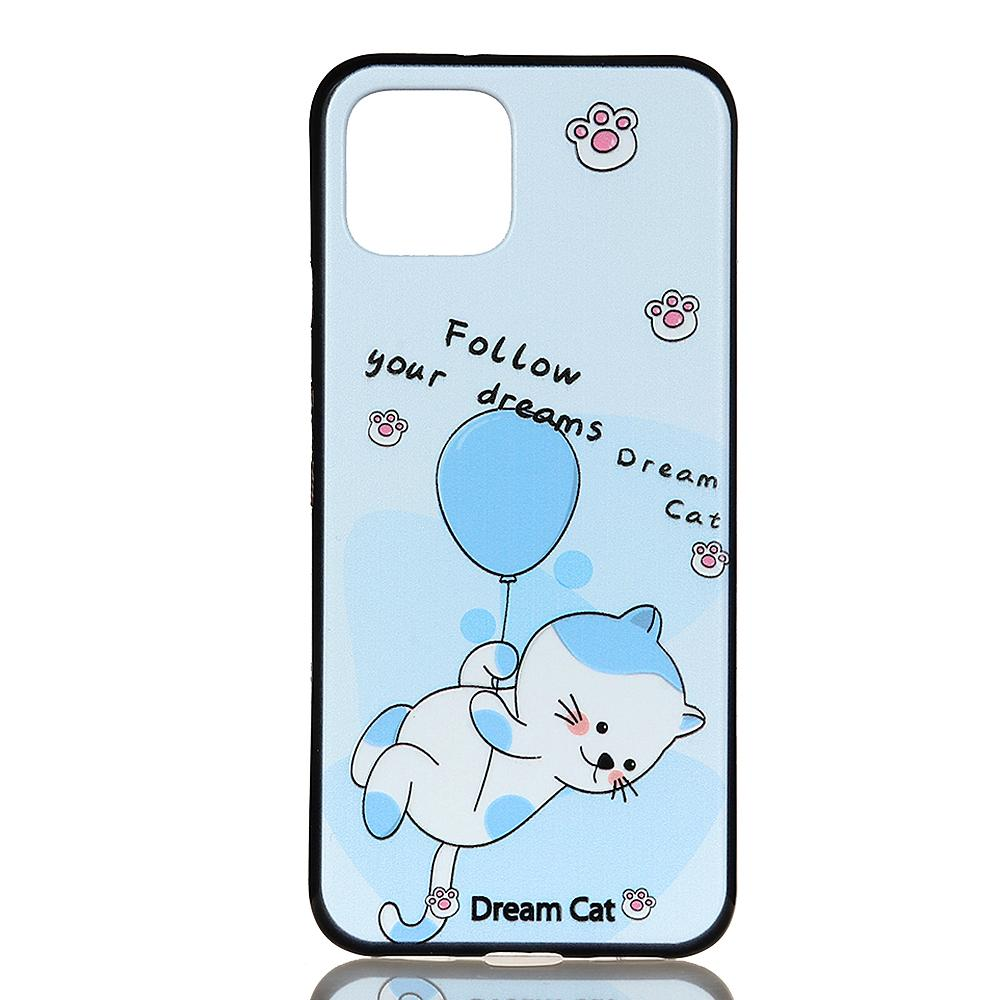 Pixel 4 Case Dream Cat Pattern Back Case TPU Protective Cover Blue