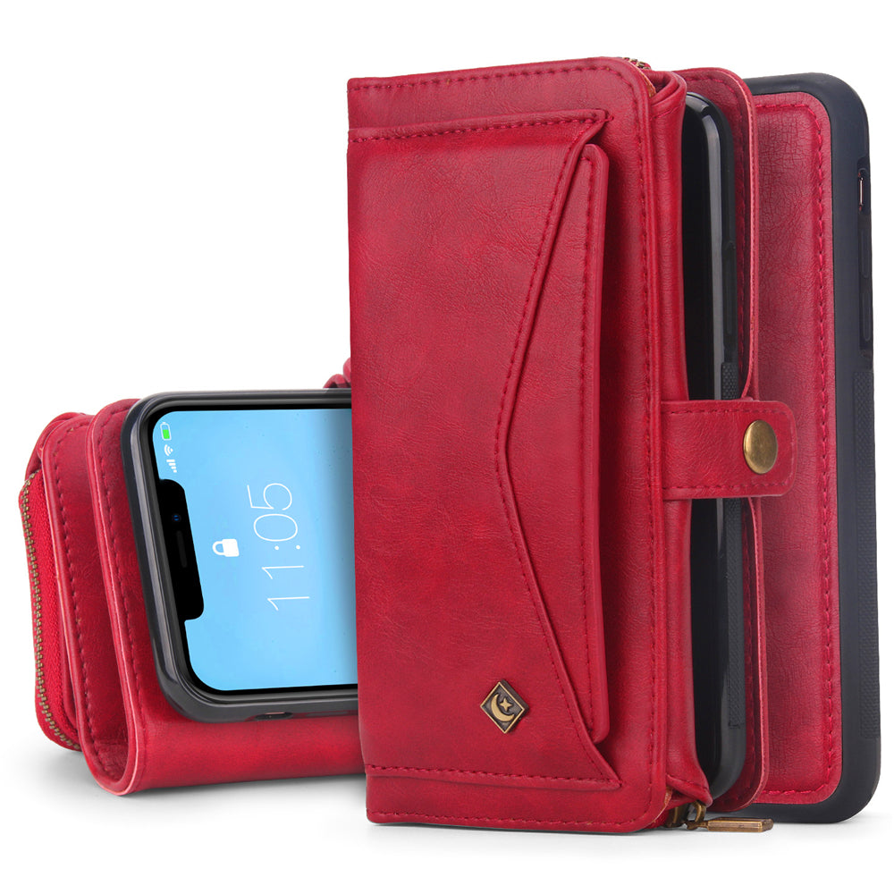 iPhone 11 Leather Wallet with Detachable Phone Case with Multiple Card Slots & Zipple Pocket Red