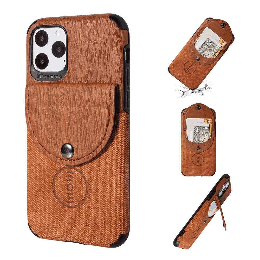iPhone 11 Pro Leather Case Wood Grain Bumper Protective Phone Cover with Card Holder Brown