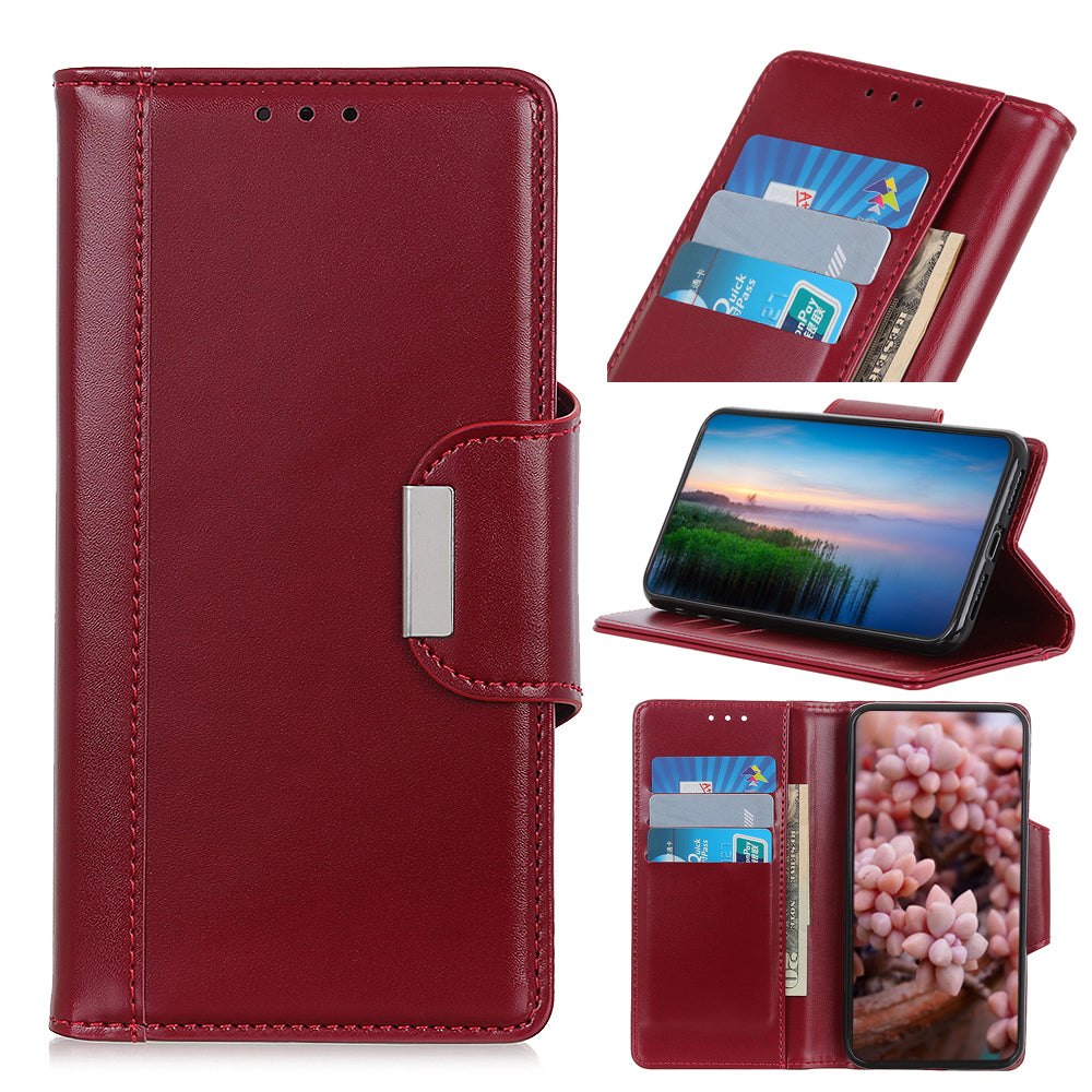 Realme X2 Pro Leather Case with Card Slots Flip Fold Case for Realme X2 Pro Red Wine