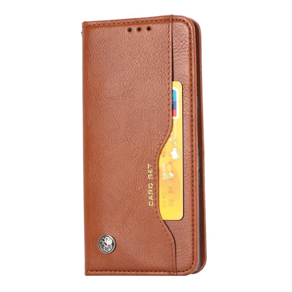Huawei Mate 30 Leather Wallet with Viewing Stand and Card Slots Flip Cover Coffee